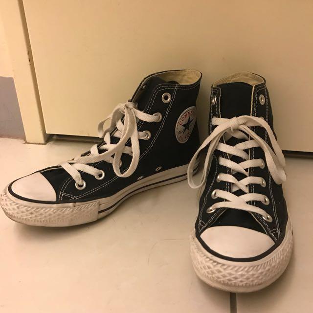 All star 黑色高筒帆布鞋 24