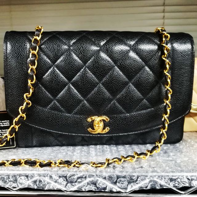 db4998d1ded8 AUCTION MINIMUM BID: authentic chanel diana flap bag in caviar skin ...