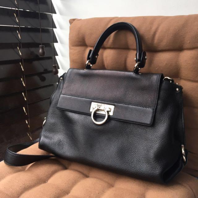 Authentic Salvatore Ferragamo Sofia Small Satchel Bag in Black ... d6ac302211723