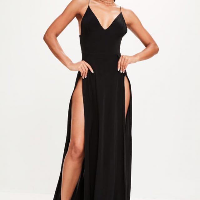 Bardot Maxi Mesh Split Bodysuit Dress