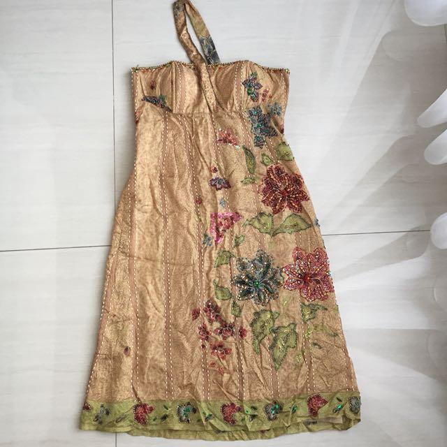 Batik Dress, open shoulder