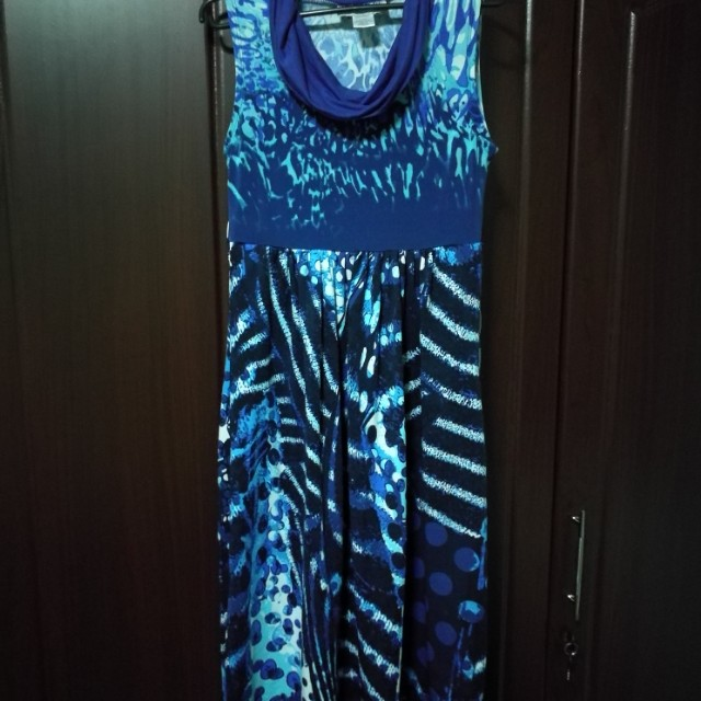 Blue Printed Maternity Dress