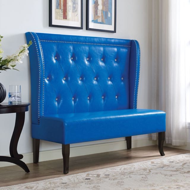 Blue PU Wingback Accent Chair Bench Loveseat