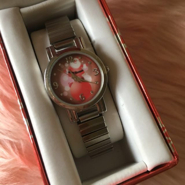 BNEW IMPORTED🇺🇸 Christmas Limited Edition Stainless Silver Watch-SANTA CLAUS (stretchable strap)($19.99 retails)