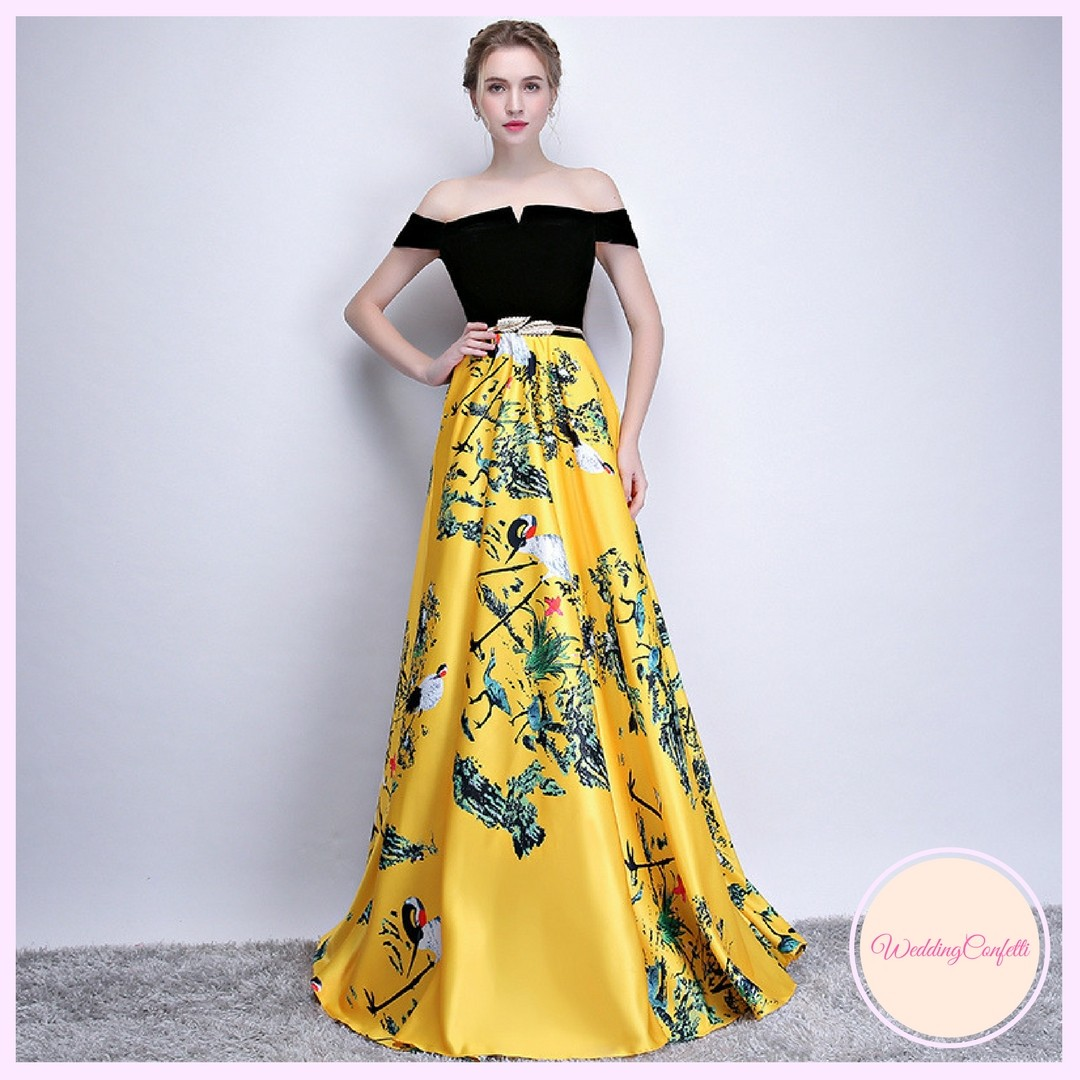 76d60c782eef Brand New  Reianie Wedding Bridal Black and Yellow Off Shoulder ...