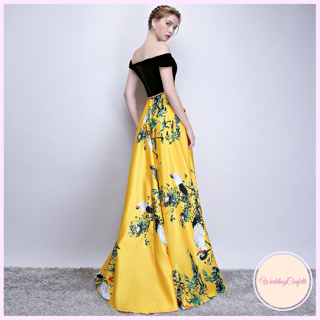 dc39a82e5606  Brand New  Reianie Wedding Bridal Black and Yellow Off Shoulder Dress Gown