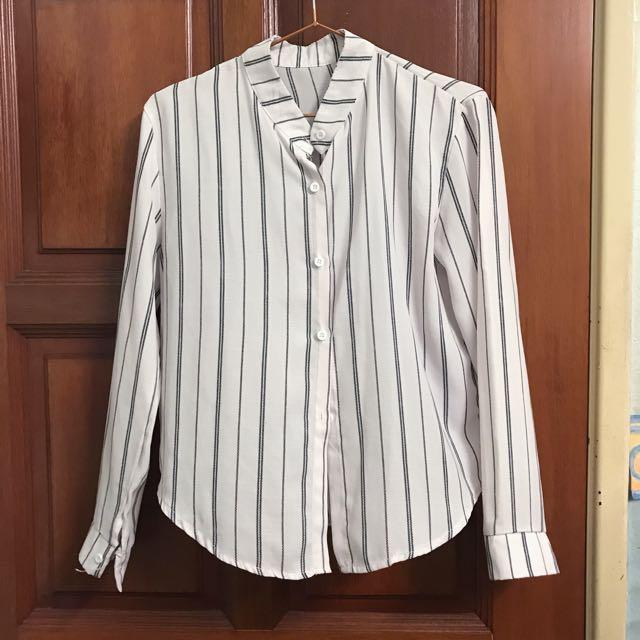 Button Up Stripes Blouse Top