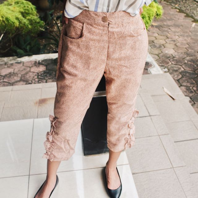 Cream Ruffle Pants