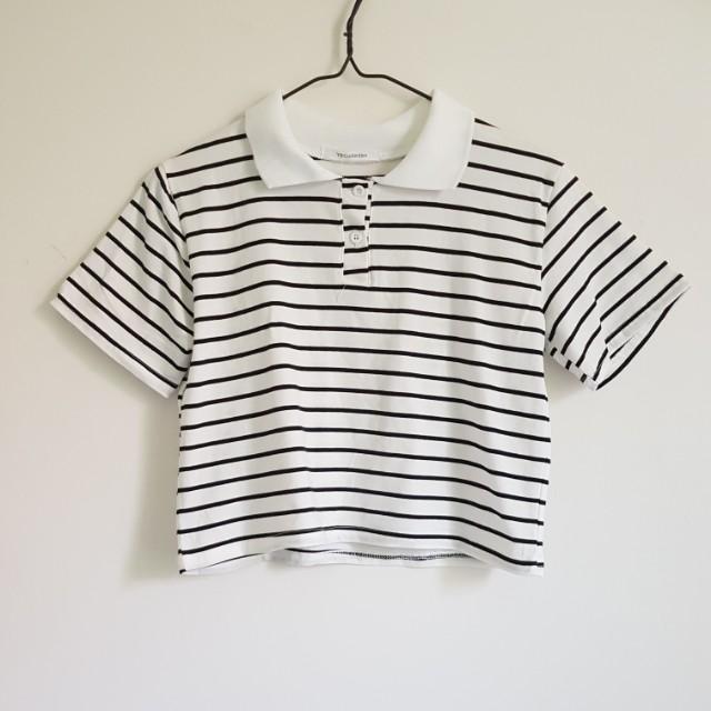 cropped striped collar tee BNWT