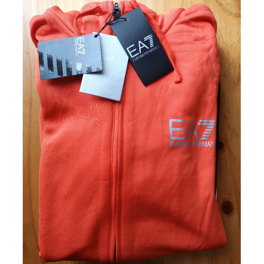Emporio Armani EA7 Men's Zipped Sports Hoodie - M - Orange