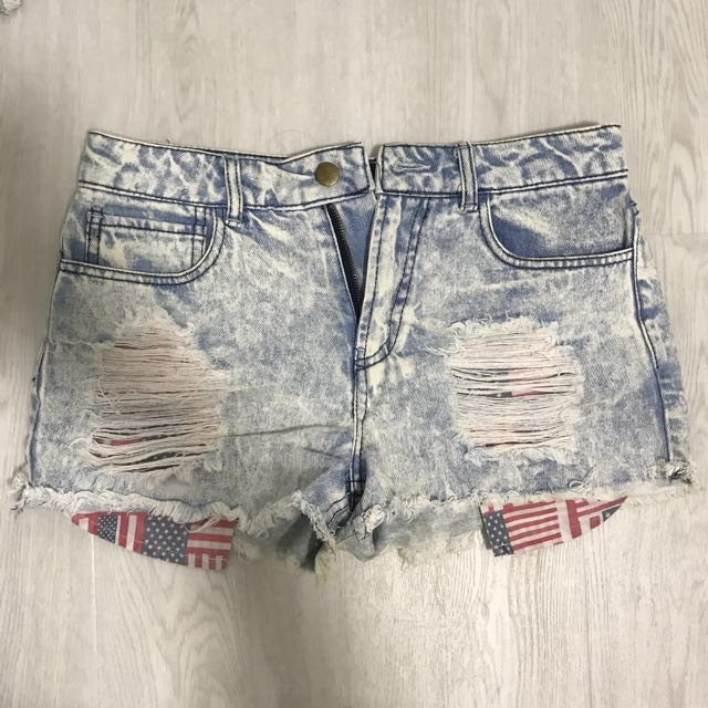e97dc5dc9039 F21 Denim Washed High Waisted Shorts HWS Ripped Distressed with USA ...