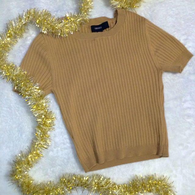 Forever 21 Beige Knit Crop Top