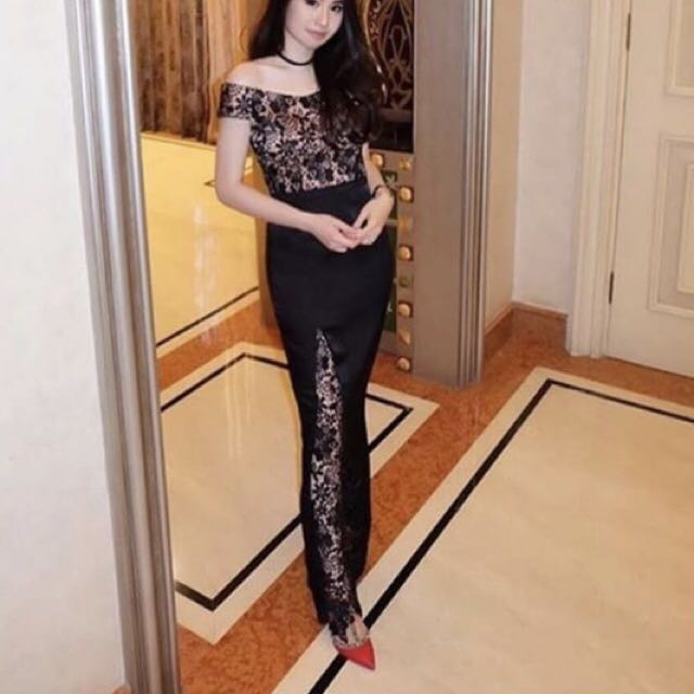 glamour lace long dress