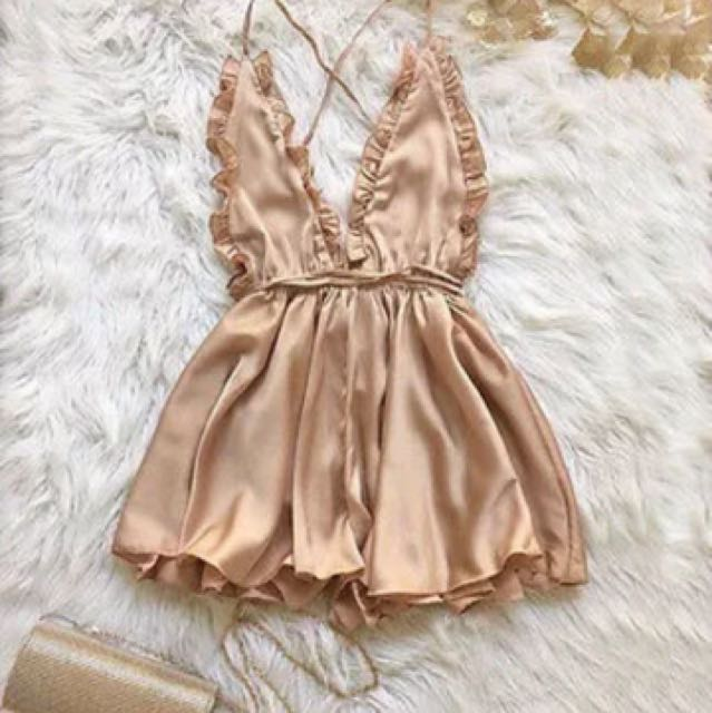 Gorgeous gold silk playsuit size S and M available