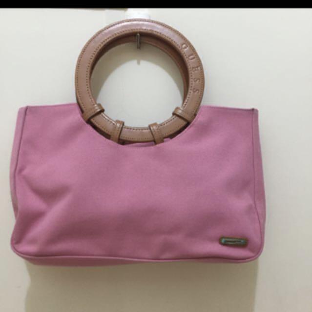 Guess 粉色丹寧布 手提包
