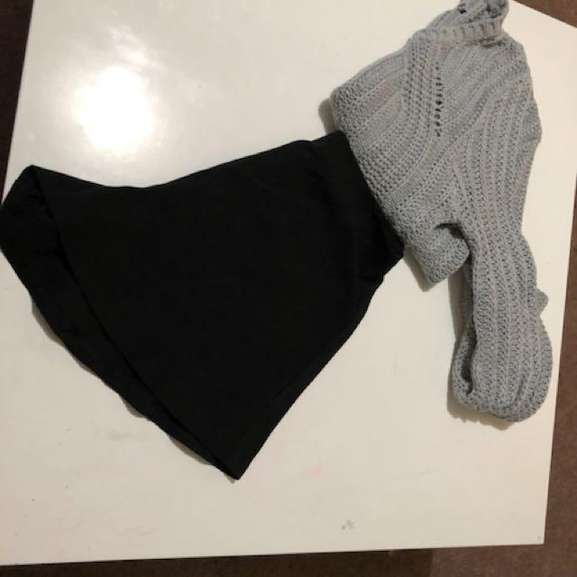 High waist flowy shorts x crop jumper