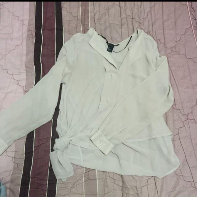 H&M不規則雪紡襯衫