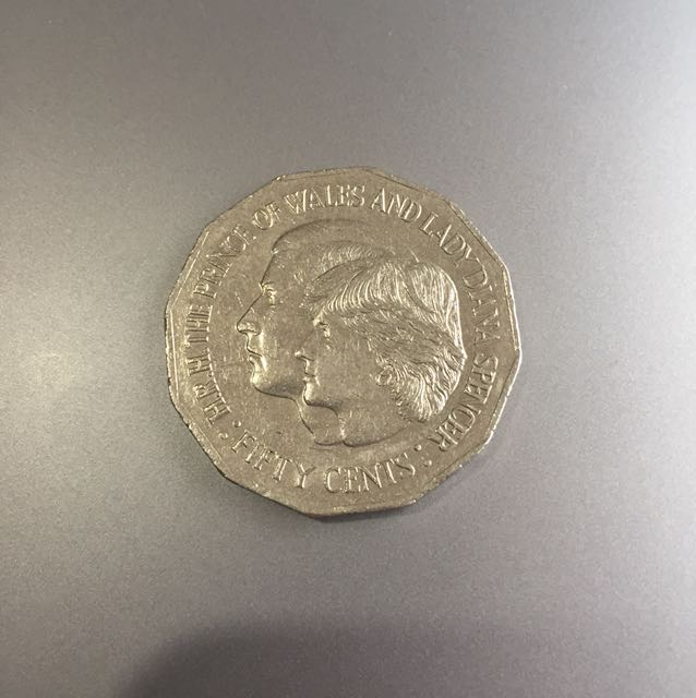 H.R.H The prince of Wales and lady Diana spencer 50c Coin