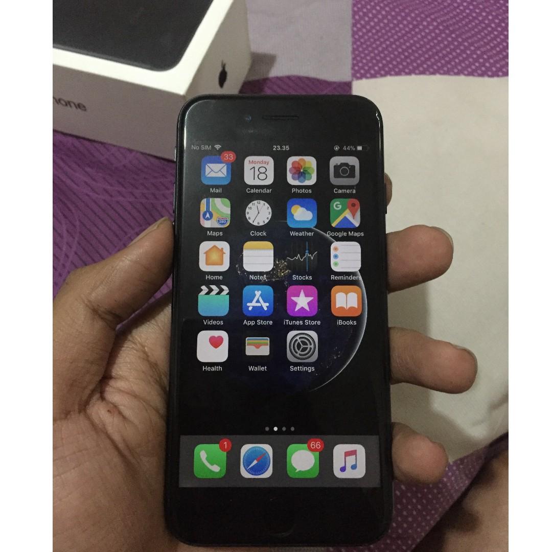 IPhone 7 Black Matte 128GB Mulus Garansi Elektronik Telepon