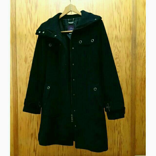 JUBIDE正韓毛料翻領長大衣 黑色 45%含毛量 軍裝外套 羊毛 中性 拉鍊 韓國製