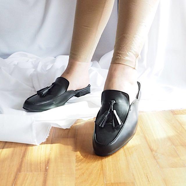 79ce2fbcf32bc Korea Korean Open Back Tassels Loafers Mules Shoes, Women's Fashion ...