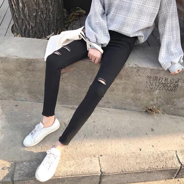 現貨L 韓版刷破牛仔褲