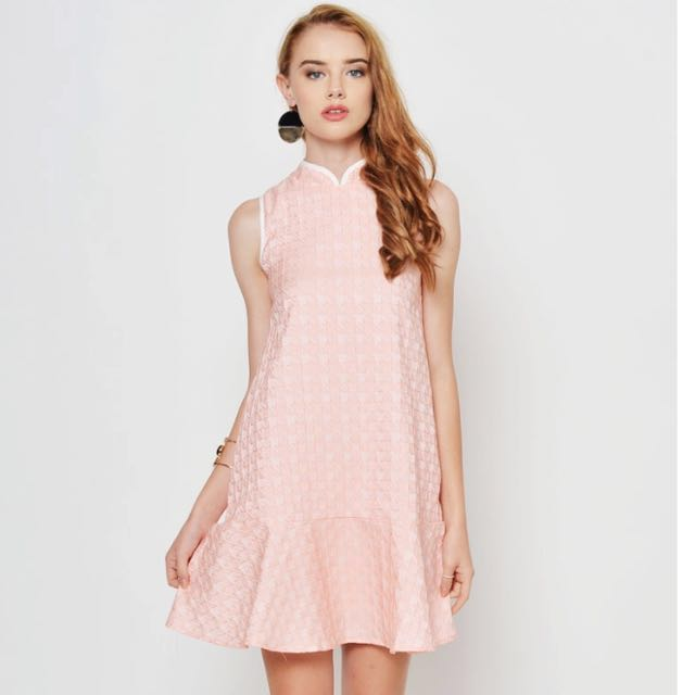 9bae861dc LAB (CNY) Alicia Houndstooth Cheongsam Pink, Women's Fashion ...