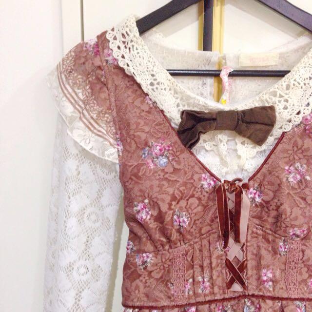 日本正品Liz Lisa碎花可可蕾絲紡紗吊帶裙$1900含運
