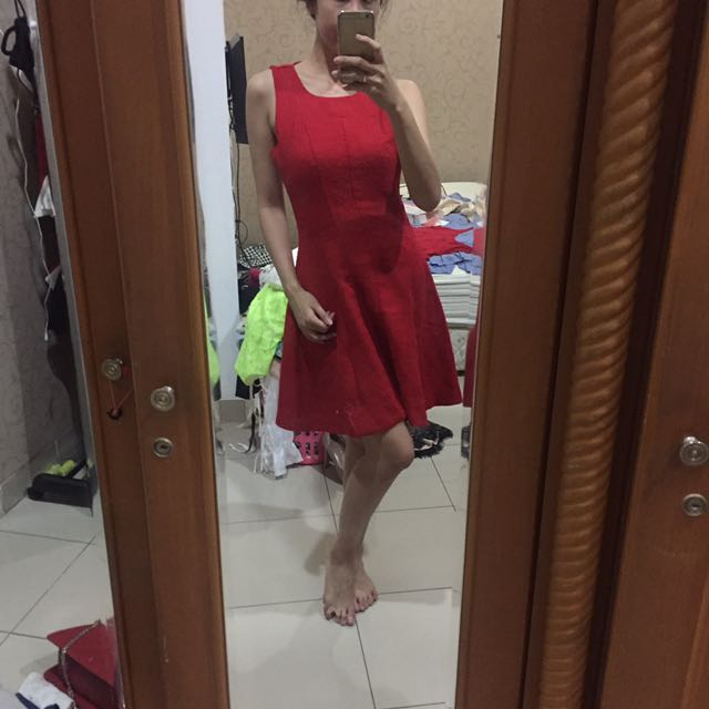 midi flare red dress