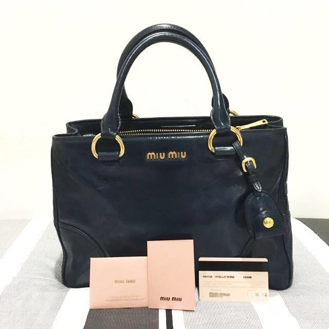 106387b57e2 Miu Miu Vitello Shine Denim Bag - RN1128