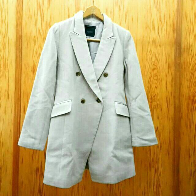 MOJO S.PHINE 正韓100%毛料長大衣 杏色 長版西裝外套 雙排釦 羊絨 羊毛