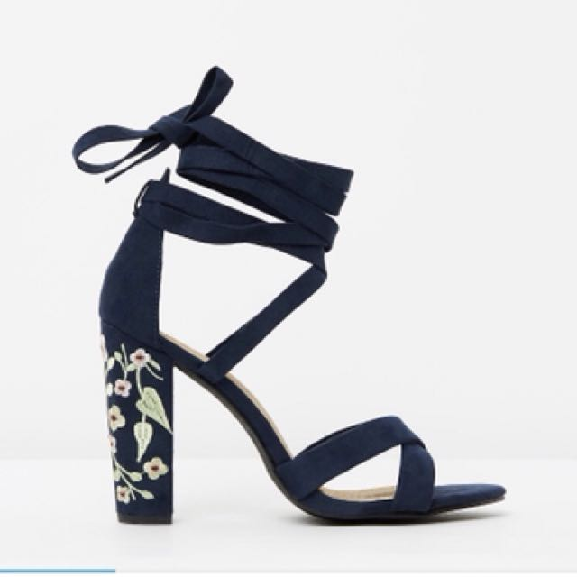 Navy block heel with wrap around laces