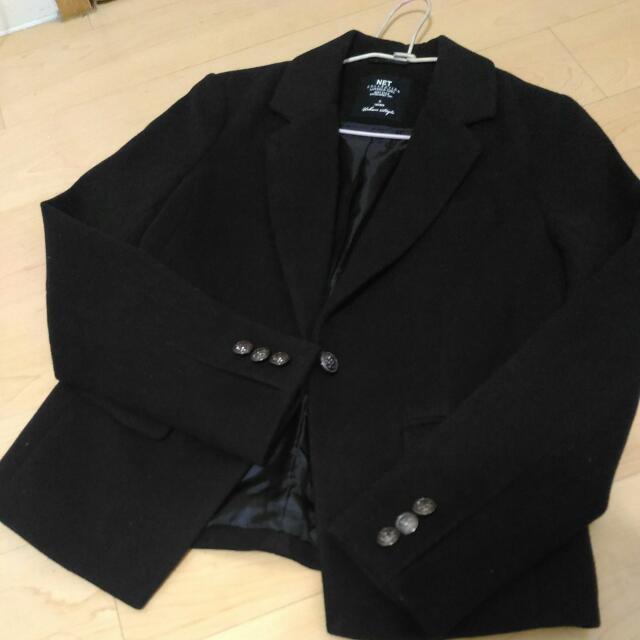 NET 6號 厚西裝外套 黑 S-M