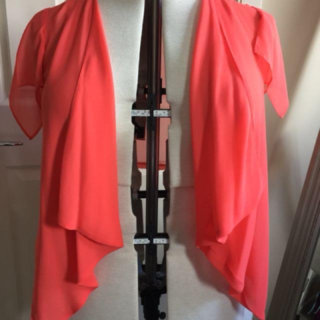 New Without Tags Bardot size 14 orange chiffon waterfall top