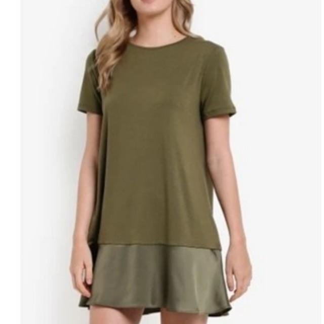 panelled t shirt dress army size s by zalora