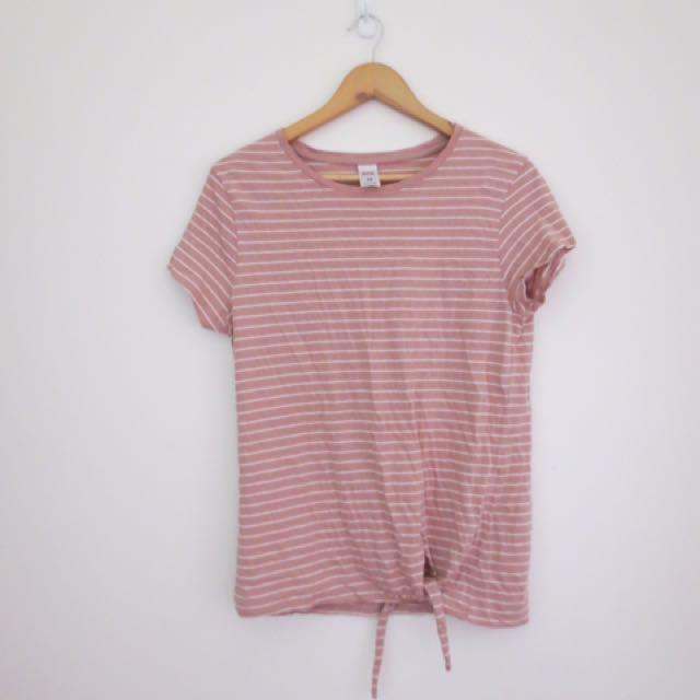 Pink white stripe tie tshirt size 14