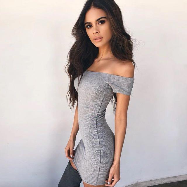 01ade60fb847 PO | grey ribbed off shoulder bodycon dress, Women's Fashion ...