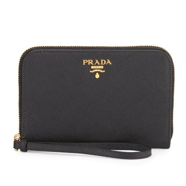 4e5a627cced443 Prada iPhone Saffiano Leather Wristlet, Women's Fashion, Bags ...