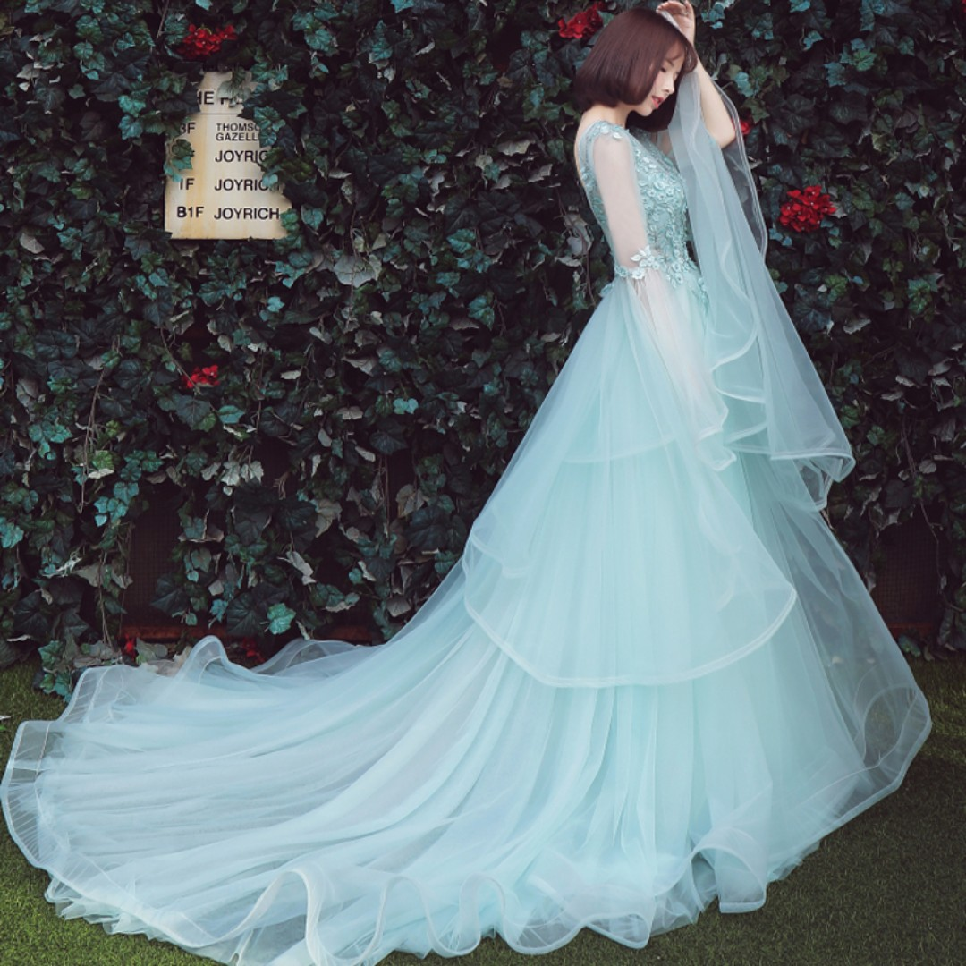 Pre order blue long sleeve fishtail wedding bridal prom evening ...