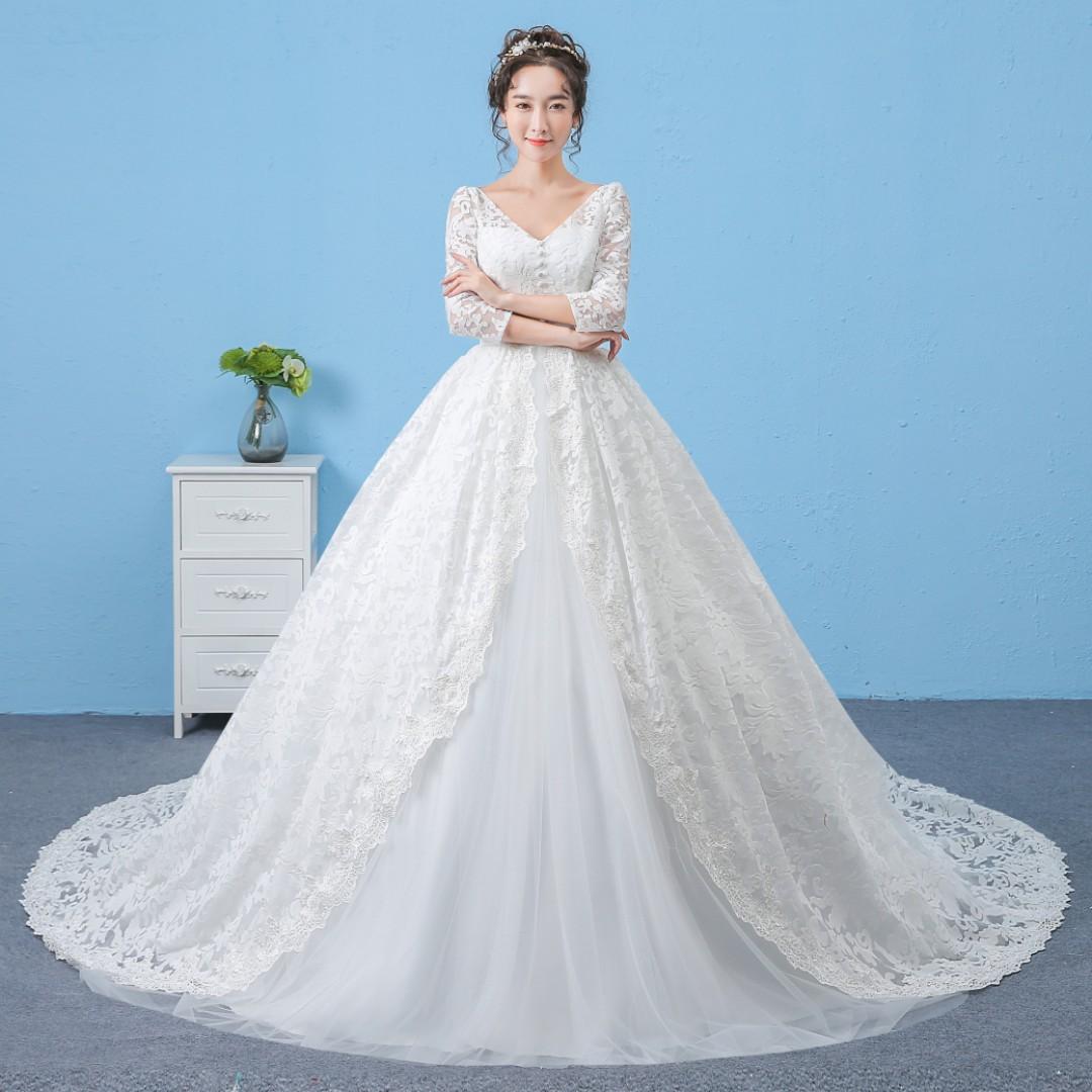 Pre order Muslimah red pink white grey long sleeve wedding bridal ...