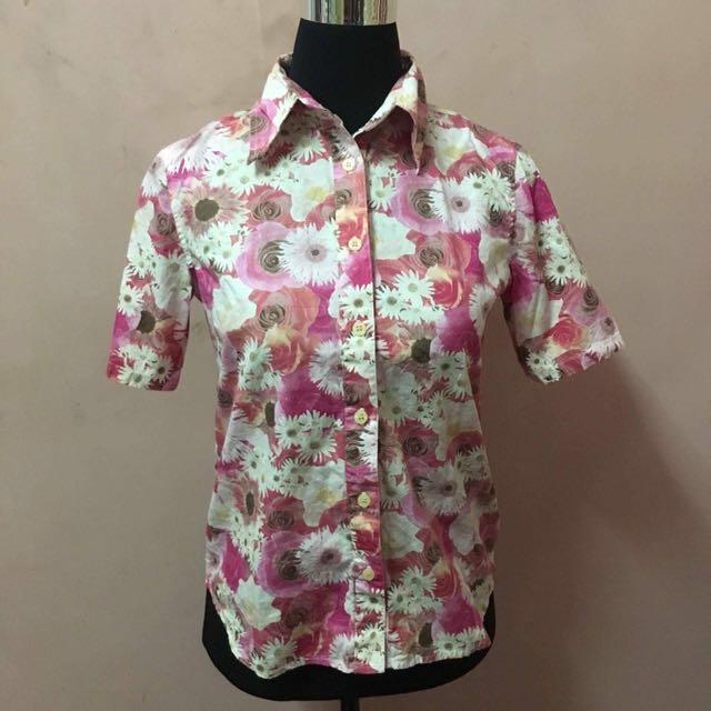 Preloved Pink Floral Top 3/4 sleeves