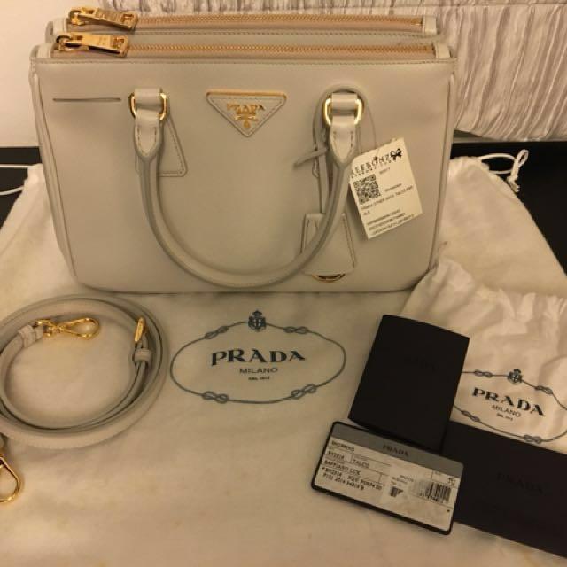 5189ec649daf Price Just Reduced!!  Prada Saffiano Lux Galleria BN2316 (Talco ...
