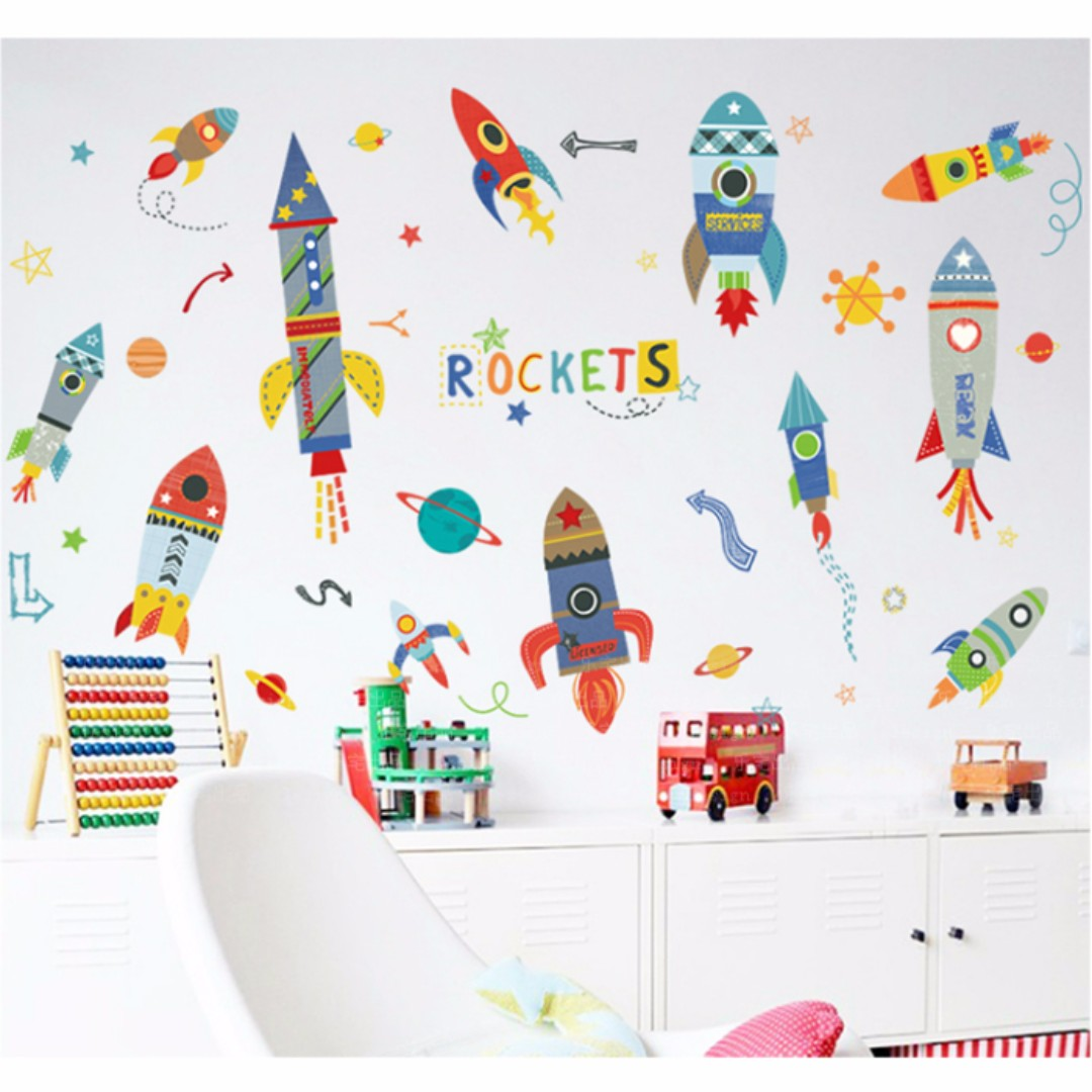 Rockets Wall Decal Boys Sticker Removable Y1761SD480 Furniture Home Decor On Carousell