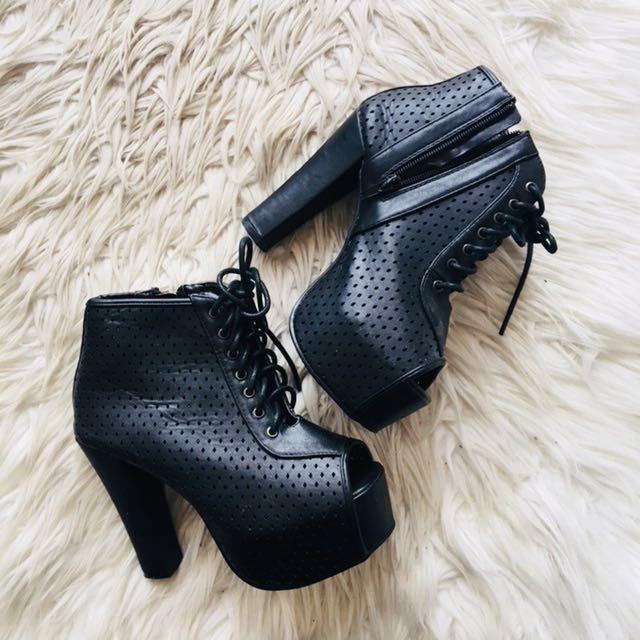 Rubi Black Platform Heels