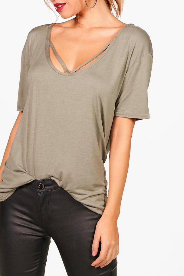 Strappy front oversized tee shirt