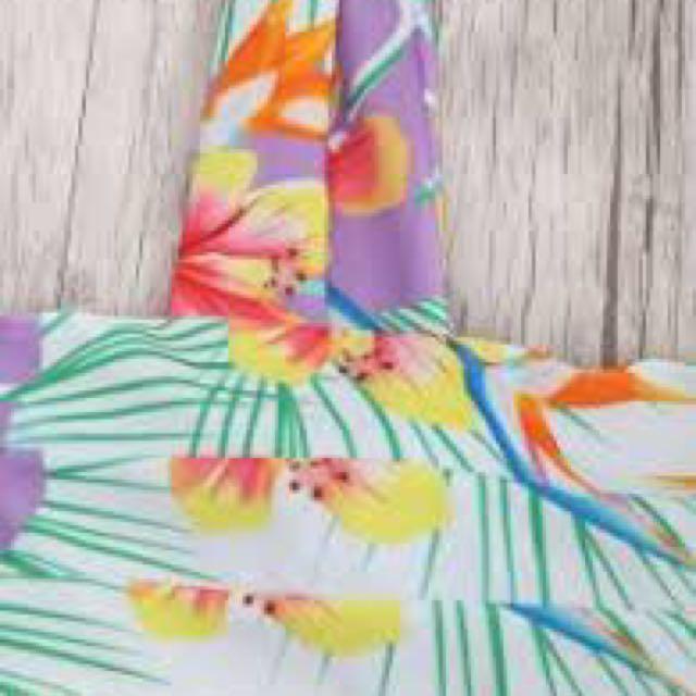 Tropical Print Wide Straps Bandeau Bikini Set - Floral