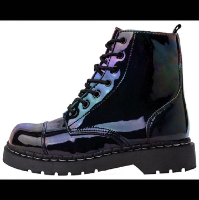 TUK iridescent holographic boots NEW