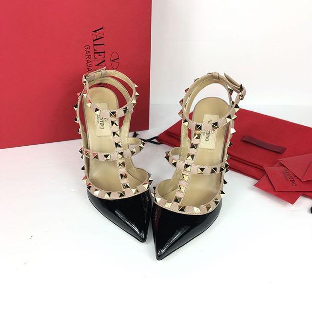 Valentino Rockstud Heels in Black Patent