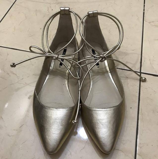 Zara Gold Flat Shoes