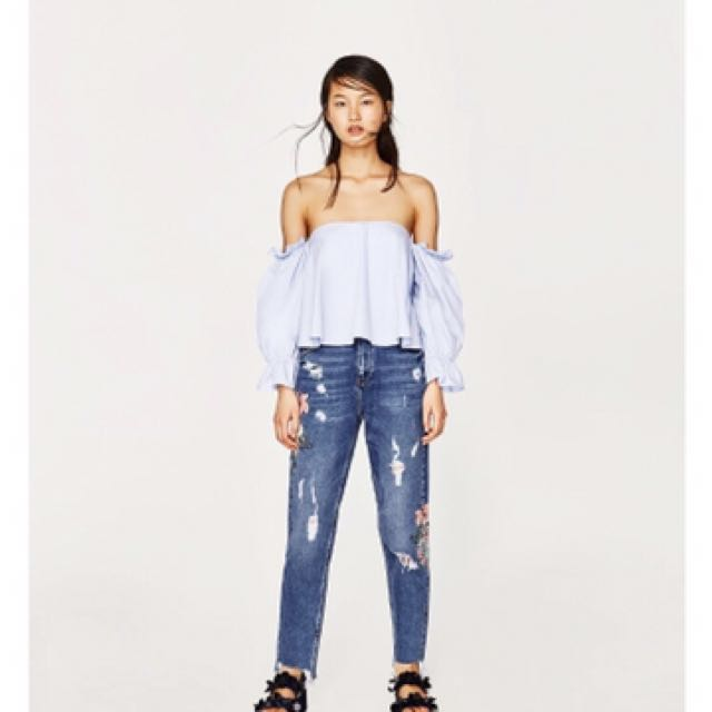 Zara poplin off shoulder top